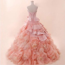 Wholesale Sexy Gorgeous Quinceanera Dresses Ball Gown Strapless Sleeveless Organza Lace Up Ruffles Long Prom Dresses Vintage Custom Quinceanera Gowns
