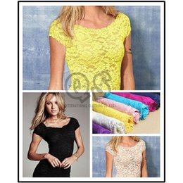 Wholesale 2015 New Fashion Sexy Floral Full Lace Short Sleeve Tee Shirt Summer Stretch Scoopneck Blouse Top Cute