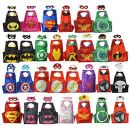Wholesale 2016 styles Double Side Superhero Capes mask set The Avenger Ninja Star Wars capes mask set Superman Frozen Cinderella for Kids G058