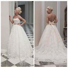 Wholesale Custom made Elegant Lace Ball Gown wedding dresses Strapless Bridal Gowns with Court train DH v150322