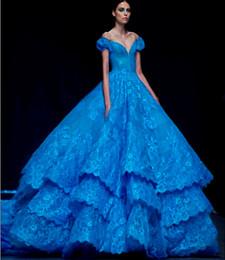 Wholesale Modestos del azul real vestidos de quinceañera de encaje escalonado mangas casquillo del tren del barrido del hombro atractivo del cuello en V vestidos de la alfombra roja de la boda