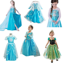 Wholesale Frozen Baby Girls Dresses Anna Elsa Lace Vestido Costume Children Snow Queen Cartoon Coronation Cosplay Ball Gown Party Suits Clothing