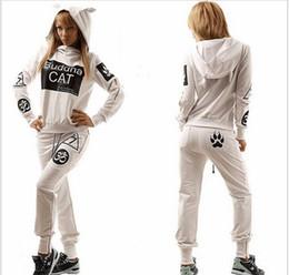 Wholesale 2016 New Arrival Hoodies Women Letters Printed Long Sleeved Womens Sweat Suit Set