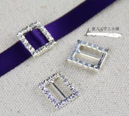 Wholesale 100pcs Heart Crystal Rhinestone Ribbon Slider Buckles Wedding Invitations mm