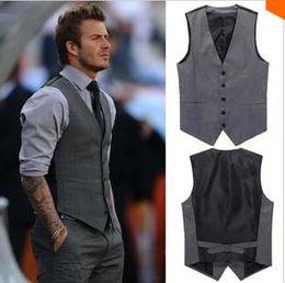 Wholesale New Fashion High Quality Slim Fit Black Gray Male Dress Waistcoat XXXL Plus Size Colete Masculino Men Suit Vest