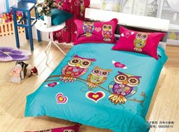 2017 queen kid sheets purple cartoon kids bedding 2015 new 100 cotton 4pcs bedding sets - Kid Sheets
