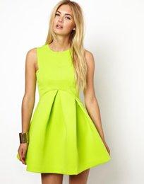 Wholesale Pretty Green Women Ball Gown Dress Fashion New Summer Sleeveless MINI Dress Cute Casual Lady Clothes Vestidos Roupas Femininas BD028