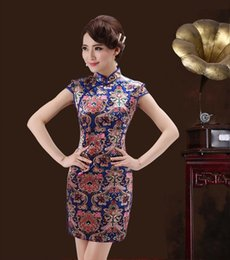 Wholesale new short sleeved summer chinese style qipao stretch satin daily cheongsam high quality cotton dress