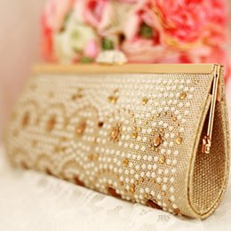 Wholesale Ladies Handbags Women s Prom Party Evening Clutches Purse Bags Wedding Bridal Hand Bags Rhinestone Crystal Gold Hand Bags Dress Accessories