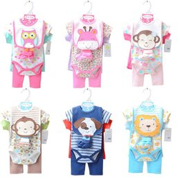 Wholesale Newest summer lovely baby romper sets sets baby boy romper baby girl romper top romper pant bib sock
