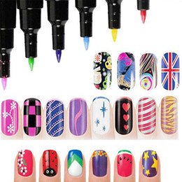 Wholesale 1 Multicolor Nail Art Pen for D Nail Art DIY Decoration Nails Polish Pen Nail Paint Pens Beauty Tools