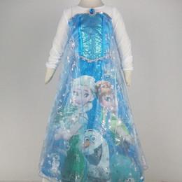 10pcs crianças vestidos de febre congelados vestido de festa da princesa floco de neve congelada vestido da menina capa Falbala tutu dança vestido de paetês presente do Natal