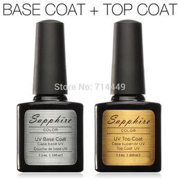 Wholesale 1set Sapphire Nail Gel UV Base Coat Top Coat Gel Nail Art Beauty Stage Make up Nail Art Soak off Acrylic Polish Set