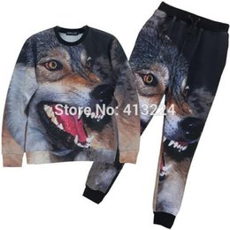 Wholesale Mikeal Animals fashion tracksuits for women men d joggers and sweatshirts suit print wolf casual hoodies long pant Z37
