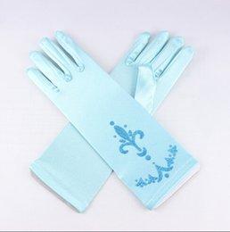 Wholesale Frozen Elsa Anna Princess Gloves Baby Girls Color Gloves Kids Cartoon Silk Fabric Gloves Children Fashion Gloves