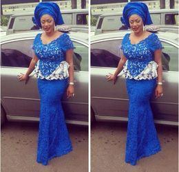 Wholesale Royal Blue Nigerian Lace Dresses Evening Wear V Neck Short Sleeve Plus Size Evening Dresses with Peplum Trumpet Aso Ebi Style Formal Dresses