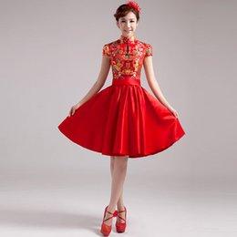 Wholesale High Quality Formal Dress Toast clothing Cheongsam Short Chinese Wedding Dress Short Sleeve High Collar Red Cheongsam Dress Hot Sale