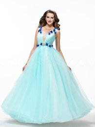 Wholesale Pretty Ball Gown Flowers Beading Lace_Up Quinceanera Dress V neck Sleeveless Flower Organza Floor Length Quinceanera Dresses WH1905