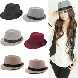 Wholesale Fashion Women s Hats Unisex Fedora Hat Houndstooth Pattern Mens Pinched Crown Ribbon Panama Cap Vintage Hats for Women