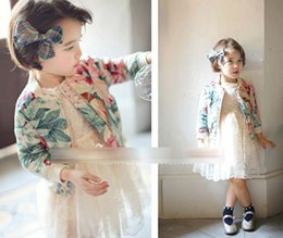 Wholesale Children Clothes Girls Casual Flower Solid Cardigan Outwear Kids Flowers Baseball Style Jacket Tops D6140