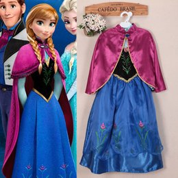 Wholesale New syle FROZEN Princess Anna Dress Cloak Suit Child Girl Cosplay Costume Size