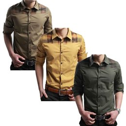 Wholesale S5Q Men s Casual Slim Fit Stylish Dress Shirts Long Sleeve Front Button AAACKZ