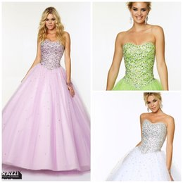 Wholesale 2015 Luxurious Tulle Beaded Corset Sweetheart Quinceanera Dresses Ball Gown Strapless Floor Length Lace upProm Dresses Dresses Party Evening