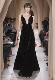Wholesale 2015 Valentino Sping Summer Black Evening Dresses A Line Deep V Neck Backless Velvet Prom Gowns