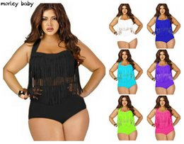 Wholesale 2016 Summer Plus Size Tassels Bikinis High Waist Swim Suit Sexy Women Bikini Swimwear Padded Boho Fringe Swimsuit Black Blue Bathin Colors