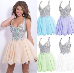 Wholesale 2016 cocktail party dresses cheap new arrival sparkly sequins beaded crystals backless short sexy prom homecoming gown dresses