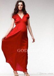 Wholesale V neck Empire Waist Pleat Design Maternity Maxi Dress M suit for Pregnant woman for