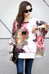 Wholesale Spring Women s Sexy Batwing Dolman Sleeve Chiffon Shirt Bohemian Tops Oversized Blouse white