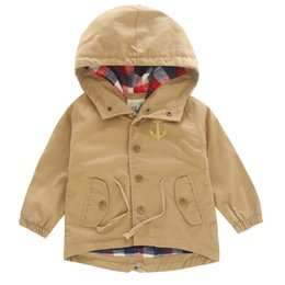 Wholesale Korean Boys And Girls Coats Anchor Embroidery Long Sleeve Outerwear For Kids Waist Draw Cord Hooded Jackets For Children Age K726