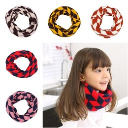 Wholesale Cute Children Knitted Ring Scarf Winter Warm Infinity Scarves Soft Neckerchief Wraps With Rhombus Pattern Colors Choose EOB