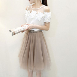 Wholesale 2015 Women s Solid Flower Short Sleeve T shirt And Fashion Sash Gauze Skirt Pieces Set Women s European Style Summer Outfit