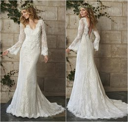 Wholesale 2015 Spring Vintage Bohemian Long Sleeves Lace Sheath Wedding Dresses Sexy V neck Backless Court Train Bridal Gowns For Garden Wedding