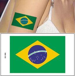 Wholesale Temporary Tattoo Stickers Brazil Brasil Flag Pattern Cool Body Art Tattoo Stickers Socccer Fan Tattoo