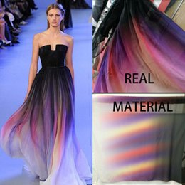 Wholesale 2015 Elegant Elie Saab Ombre Chiffon Beach Empire Prom Dresses Real Material Image Strapless Neck Pleats Evening Red Carpet Formal Gowns