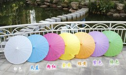Wholesale New Wedding Parasols Paper Parasol Sun Umbrellas Bridal Handmade Diameter Solid Color Paper Umbrella Chinese Straight Sunshad