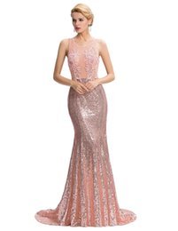 Wholesale Grace Karin Pink Floor Length Backless Sexy Sequined Mermaid Party Dress Ball Gown Evening Prom Bridesmaids Dress GK000041 Cheap