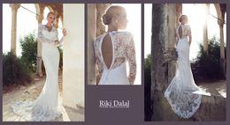 Wholesale Riki dalal New Arrival Long Sleeve V Neck Lace Beads Winter Israel Muslim Wedding Dress Sheath High Quality Bridal Gown