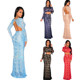 Wholesale Sexy Lady Womens dress Sets Long Sleeve Floral Lace Open Back two piece Set Women Skirt Suit Top Soft Lining Elastic Waist Maxi Skirt G1012