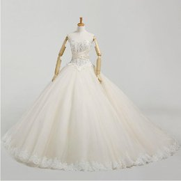 Wholesale Attractive Classy Lace Appliques Beaded Sweetheart Neckline Lace up Sweep Train Ball Gown Wedding Dresses