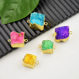 Wholesale Finding Square shape Drusy Druzy Quartz Connectors Bead Pendant Jewelry Making