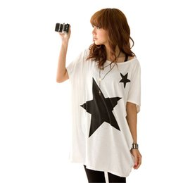 Wholesale Hot New Summer Oversized Baggy Tops For Women Five point Star Patterns Loose Short Sleeve Tee T shirt Plus Size S XL