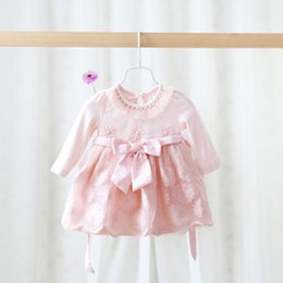 Wholesale 2015 Autumn New Arrival Korean Style Children Clothing Baby Girl Long Sleeve Lace Princess Dress Infant Baby Pure Cotton Dress