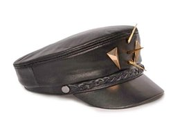 Wholesale Lambskin Leather Hat Arena Rock PUNK Non mainstream Black Rivet Hat
