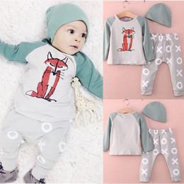 Wholesale 2015 Newborn Baby Infant Boys Girls Fox Long Sleeve Cotton Romper Jumpsuit Set M