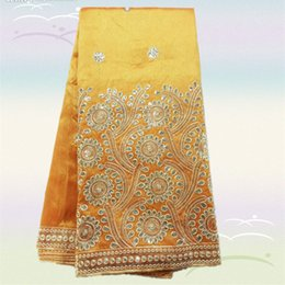 Wholesale Reasonable price orange yellow Item MGL16 yds African cotton George lace fabric with gold sequins for party dress