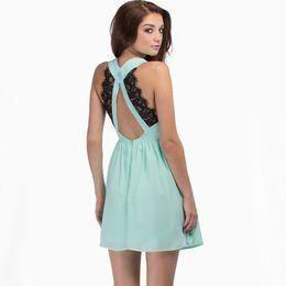 Wholesale Fashion Women Sexy Dress Backless robe femme Lace Patchwork V Neck Sleeveless Party Mini Short Dress vestidos de festa curto